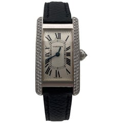 Cartier Tank Américaine White Gold and Diamond Leather Strap Ladies Watch