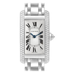 Cartier Tank Americaine White Gold Diamond Ladies Watch WB7018L1