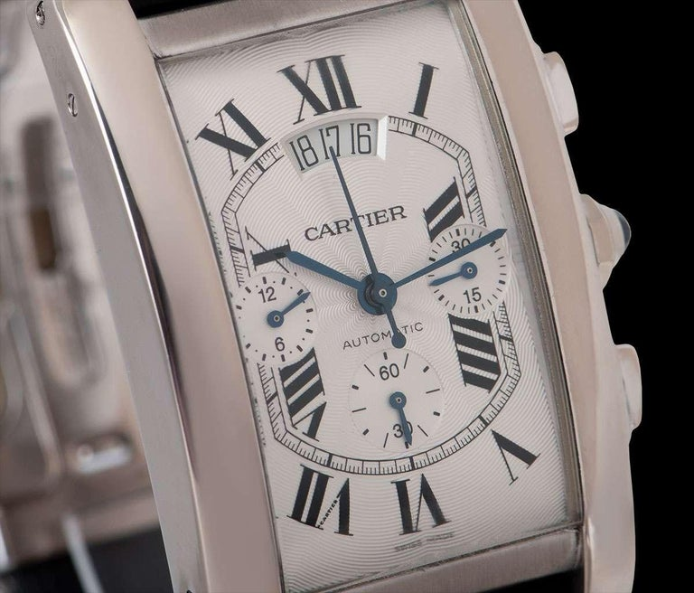 Cartier Tank Americaine XL Gents 18 Karat White Gold Silver Guilloche Dial B&P In Excellent Condition For Sale In London, GB