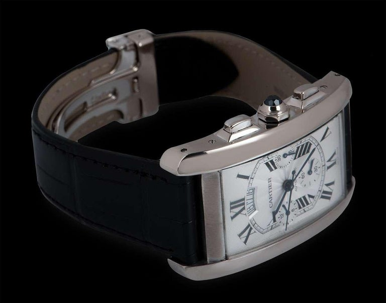 Cartier Tank Americaine XL Gents 18 Karat White Gold Silver Guilloche Dial B&P For Sale 1