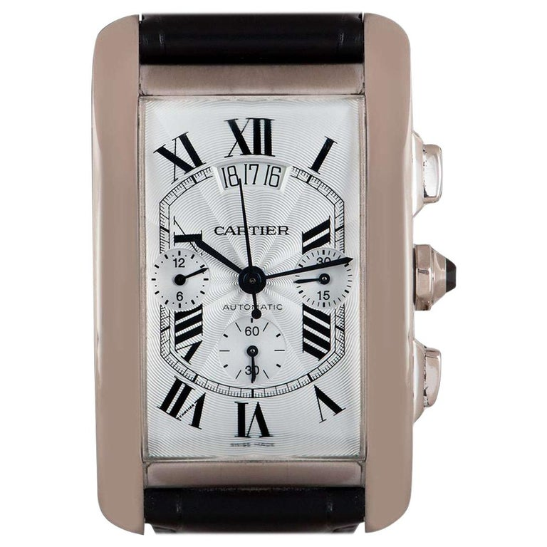 Cartier Tank Americaine XL Gents 18 Karat White Gold Silver Guilloche Dial B&P For Sale