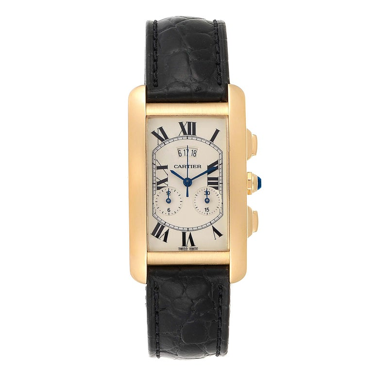 Cartier Tank Americaine Yellow Gold Chronograph Mens Watch 2568. Quartz movement. 18K yellow gold case 26.6 x 45.1 mm. Circular grained crown set with faceted blue sapphire. 18K yellow gold bezel. Scratch resistant sapphire crystal. Silvered graine