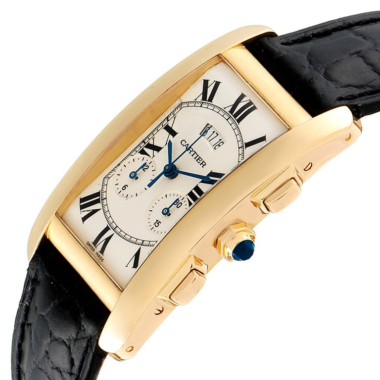 Cartier Tank Americaine Yellow Gold Chronograph Men's Watch 2568 For Sale 2