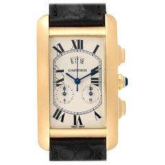 Cartier Tank Americaine Yellow Gold Chronograph Men's Watch 2568