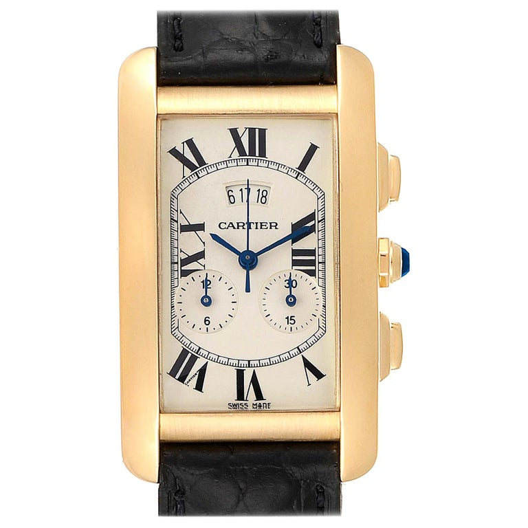 Cartier Tank Americaine Yellow Gold Chronograph Men's Watch 2568 For Sale
