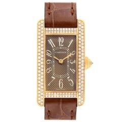 Cartier Tank Americaine Yellow Gold Diamond Ladies Watch 2482