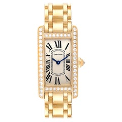 Cartier Tank Americaine Yellow Gold Diamond Ladies Watch WB7072K2 Box Papers