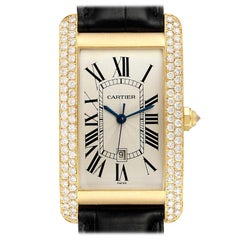 Cartier Tank Americaine Yellow Gold Diamond Men's Watch WB702051 Box Papers