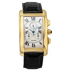 Cartier Tank Americaine Yellow Gold Quartz Chronograph Wristwatch Ref. 1730