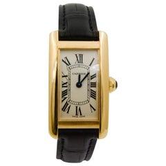 Cartier Tank American 18 Karat Yellow Gold Ivory Roman Dial