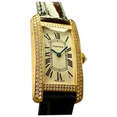 Cartier, Tank American Diamonds, Yellow Gold, Leather Strap, WB705631