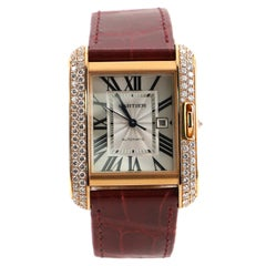 Cartier Tank Anglaise Automatic Watch Rose Gold and Alligator with Diamonds 30