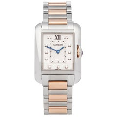 Cartier Tank Anglaise Diamond Stainless Steel and Rose Gold 3485 Wristwatch