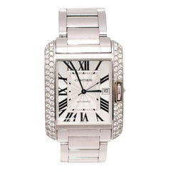 Cartier Tank Anglaise Extra Large 18 Karat White Gold with Diamonds Wristwatch