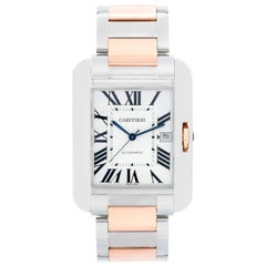 Cartier Tank Anglaise Large Stainless Steel and Rose Gold Men's Watch W5310006