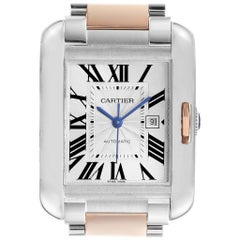 Cartier Tank Anglaise Large Steel 18 Karat Rose Gold Watch W5310007 Box