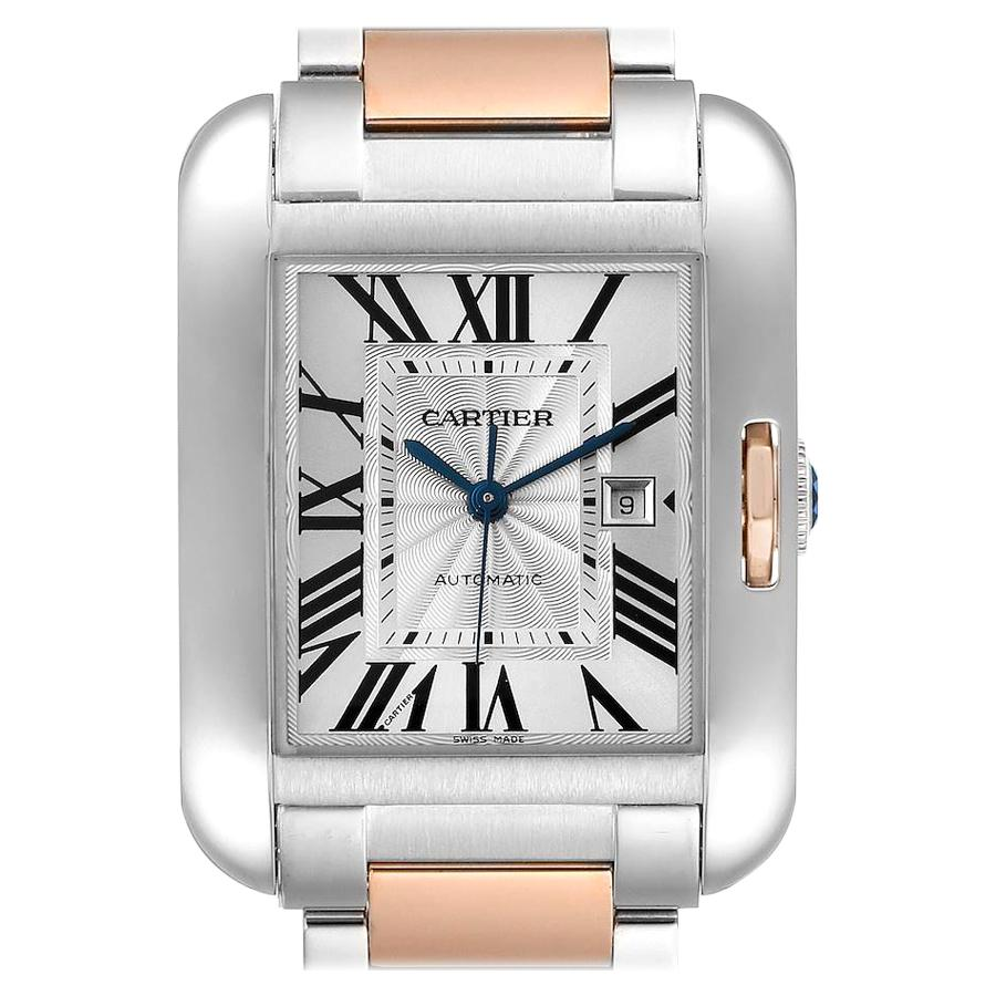 Cartier Tank Anglaise Large Steel 18K Rose Gold Watch W5310007 Box Papers