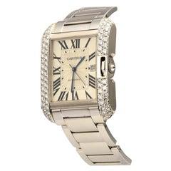 Cartier Tank Anglaise Ref. 3506 18k White Gold Diamond Bezel Watch
