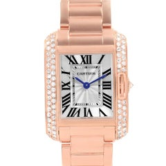 Cartier Tank Anglaise Rose Gold Diamond Ladies Watch WT100002 Box Papers