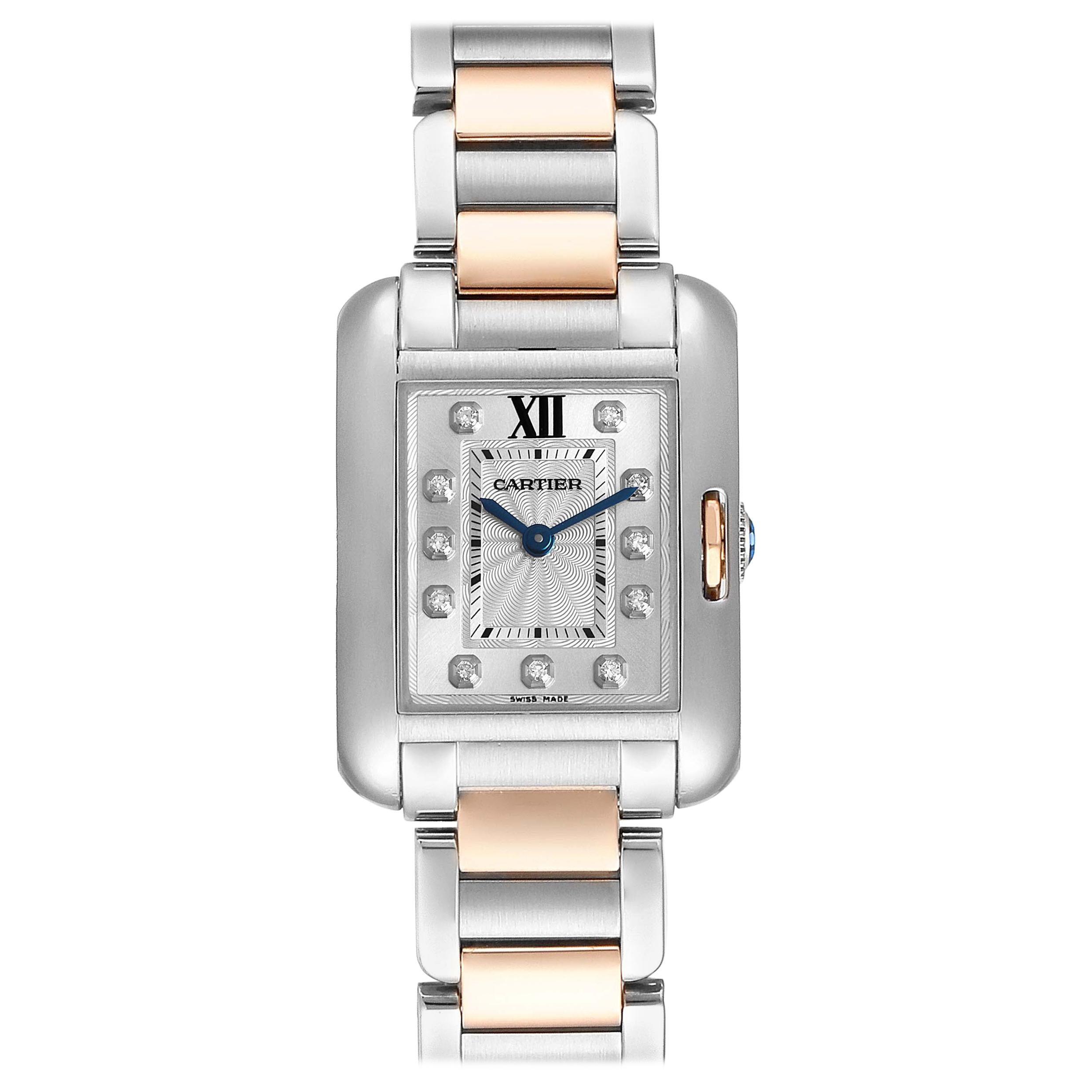 Cartier Tank Anglaise Small Steel 18 Karat Rose Gold Diamond Watch WT100024