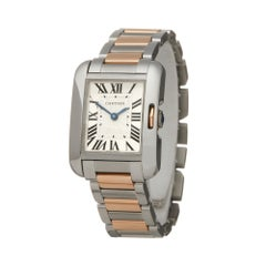 Cartier Tank Anglaise Stainless Steel And 18 Karat Rose Gold W5310036 or 3485