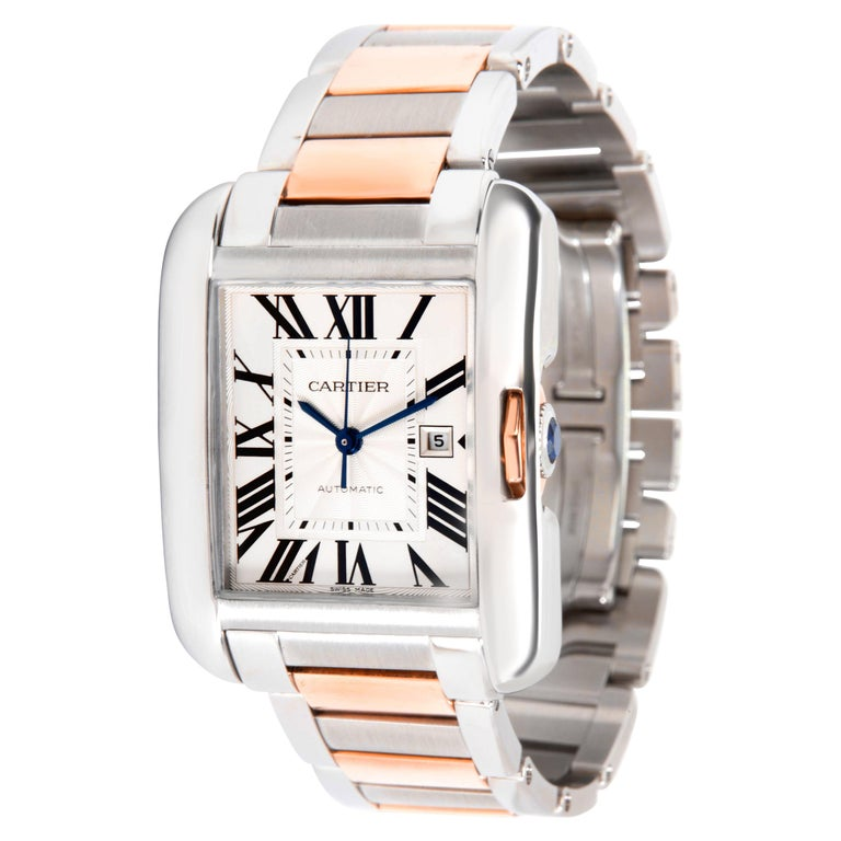 Cartier Tank Anglaise W5310007 Men's Watch in 18 Karat Stainless Steel/Rose Gold