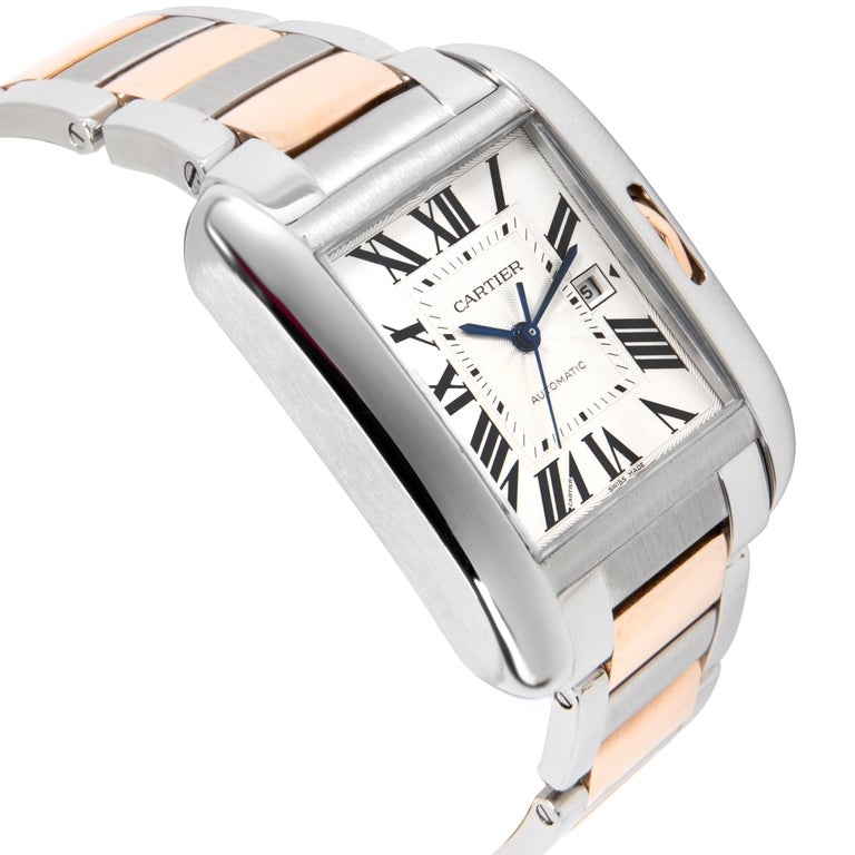 Cartier Tank Anglaise W5310007 Men's Watch in 18 Karat Stainless Steel/Rose Gold In Excellent Condition In New York, NY