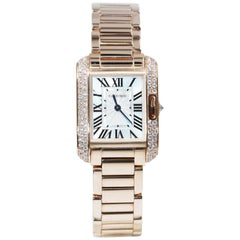 Cartier Tank Anglaise Uhr, 18 Karat Rotgold Diamanten