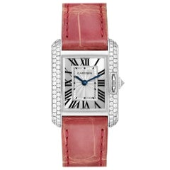 Cartier Tank Anglaise White Gold Diamond Ladies Watch WT100015 Box Papers
