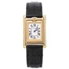 Cartier Tank Basculante 2480 Factory Diamond 18K Gold Ladies Box&Papers