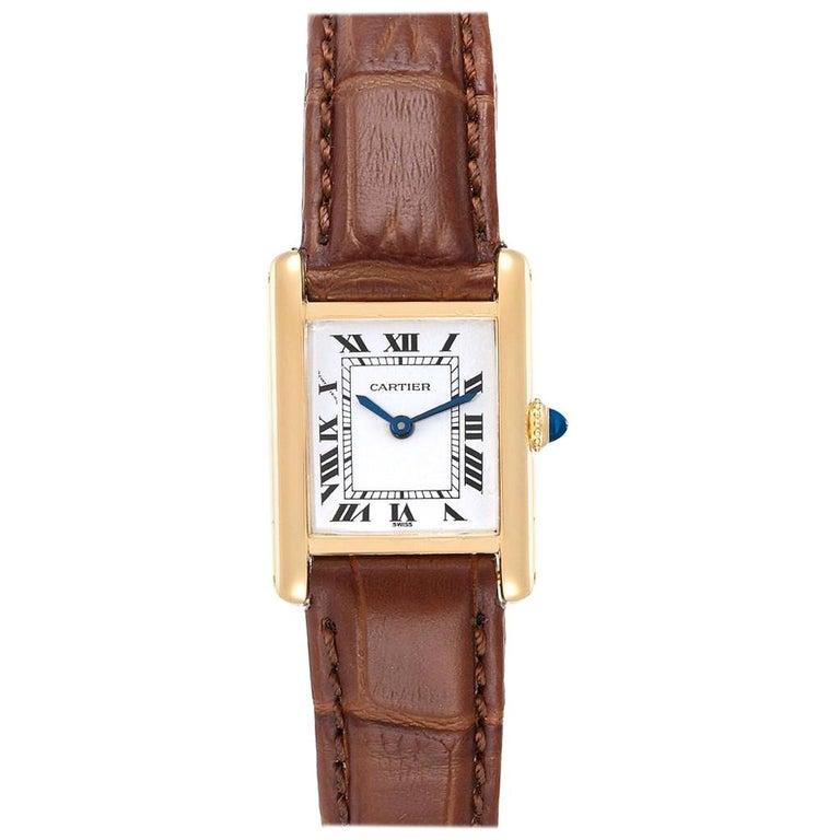 Cartier Tank Classic Paris 18 Karat Yellow Gold Brown Strap Ladies Watch For Sale