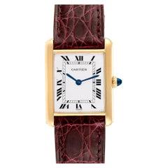 Cartier Tank Classic Paris 18 Karat Yellow Gold Burgundy Strap Ladies Watch