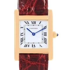Cartier Tank Classic Paris 18 Karat Yellow Gold Leather5 Strap Ladies Watch