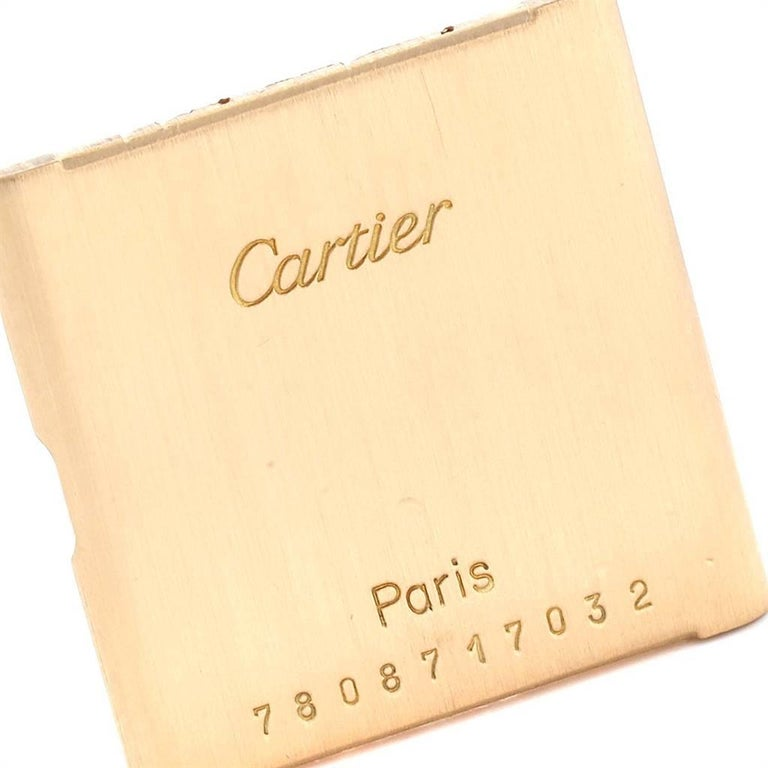 Cartier Tank Classic Paris 18 Karat Yellow Gold Brown Strap Ladies Watch For Sale 6