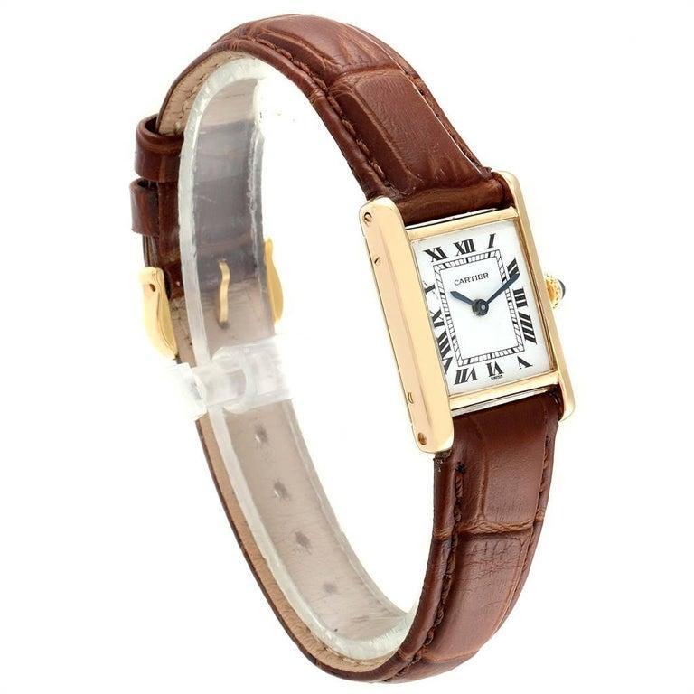 Cartier Tank Classic Paris 18 Karat Yellow Gold Brown Strap Ladies Watch In Excellent Condition For Sale In Atlanta, GA