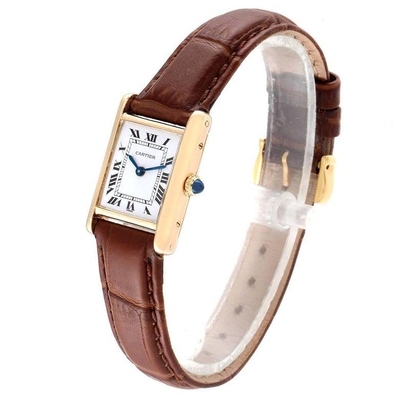 Women's Cartier Tank Classic Paris 18 Karat Yellow Gold Brown Strap Ladies Watch For Sale