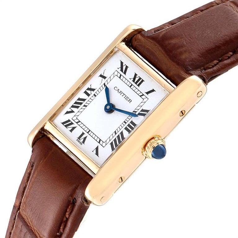 Cartier Tank Classic Paris 18 Karat Yellow Gold Brown Strap Ladies Watch For Sale 1