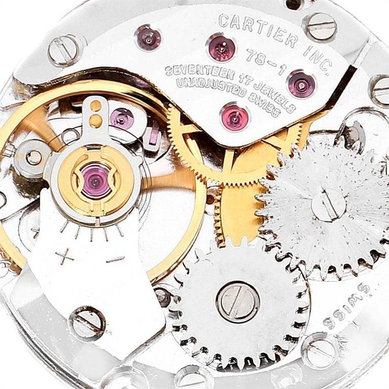 Cartier Tank Classic Paris 18 Karat Yellow Gold Brown Strap Ladies Watch For Sale 2