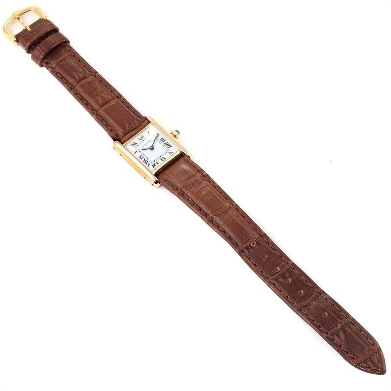 Cartier Tank Classic Paris 18 Karat Yellow Gold Brown Strap Ladies Watch For Sale 4