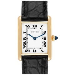 Cartier Tank Classic Paris Black Strap 18 Karat Yellow Gold Unisex Watch