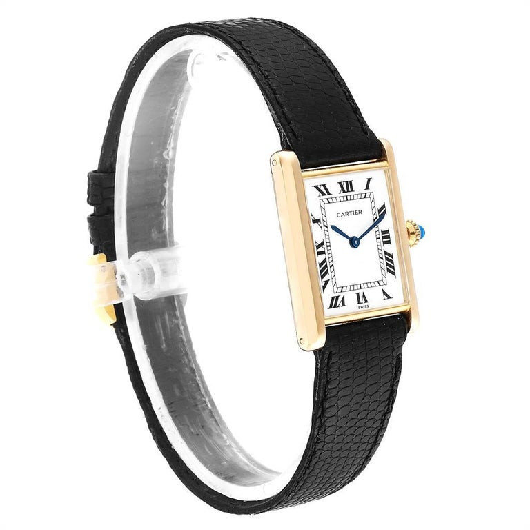 Cartier Tank Classic Paris Yellow Gold Ultra-Thin Mechanical Men's Watch In Excellent Condition For Sale In Atlanta, GA