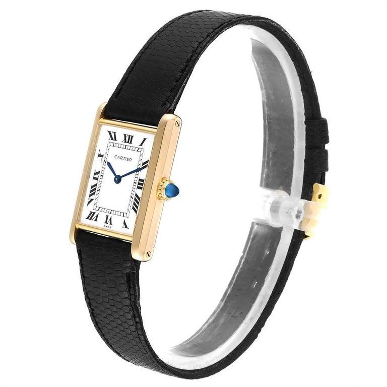 Women's Cartier Tank Classic Paris Yellow Gold Ultra-Thin Mechanical Men's Watch For Sale