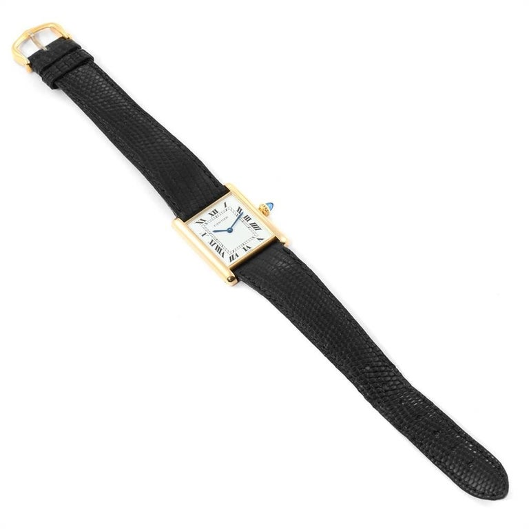 Cartier Tank Classic Paris Yellow Gold Ultra-Thin Mechanical Men's Watch For Sale 5