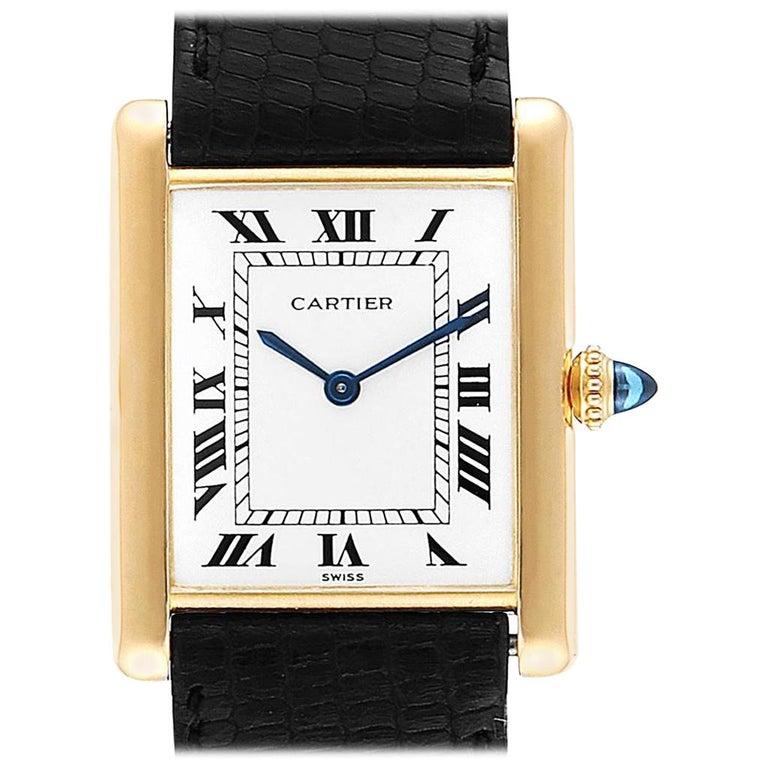 Cartier Tank Classic Paris Yellow Gold Ultra-Thin Mechanical Men's Watch For Sale