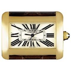 Cartier Tank Divan 18 Karat Yellow Gold Silver Guilloche Dial W6300856