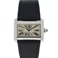 Cartier Tank Divan 2599 Stainless Steel Leather Strap Ladies Watch