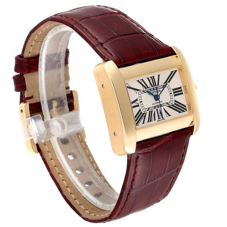 Cartier Tank Divan Large Silver Dial Yellow Gold Ladies Watch W6300856 In Excellent Condition For Sale In Atlanta, GA