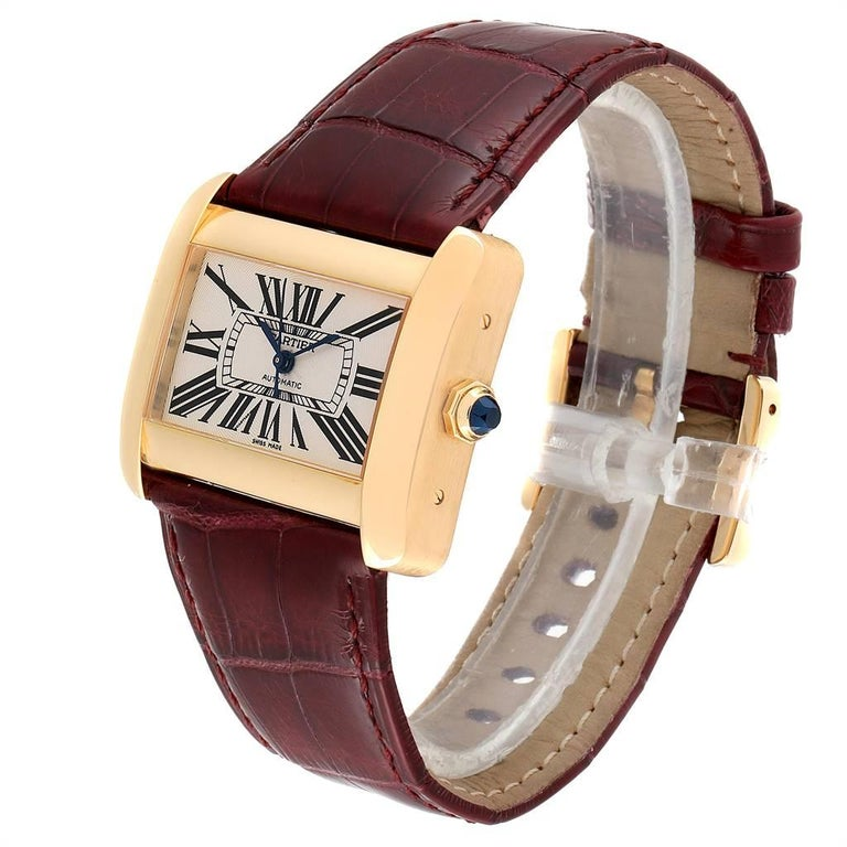 Women's Cartier Tank Divan Large Silver Dial Yellow Gold Ladies Watch W6300856 For Sale