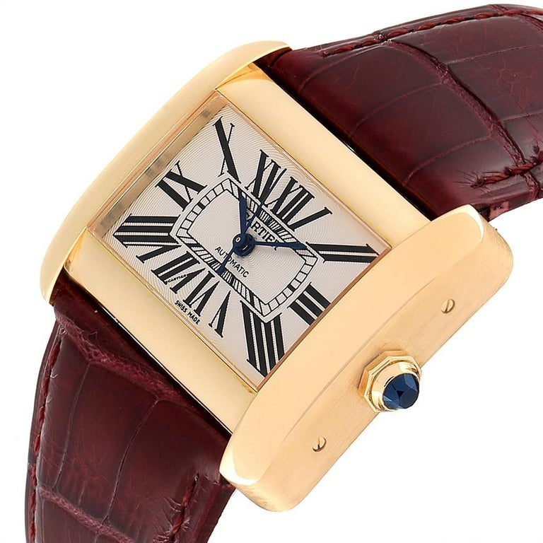 Cartier Tank Divan Large Silver Dial Yellow Gold Ladies Watch W6300856 For Sale 1