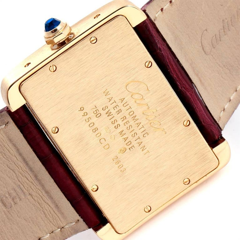 Cartier Tank Divan Large Silver Dial Yellow Gold Ladies Watch W6300856 For Sale 2